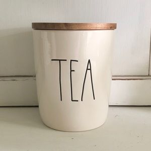Rae Dunn TEA Canister With Wooden Lid NWT